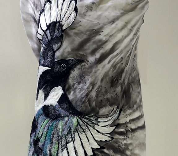 Magpie Irish Machine Embroidery with Embellished Applique