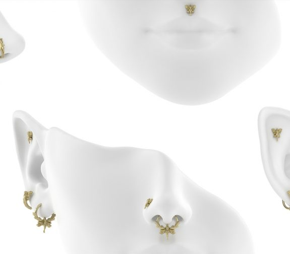 14ct gold piercing collection & display
