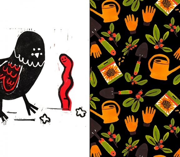Bird and Worm Chine Collé Gardening repeat