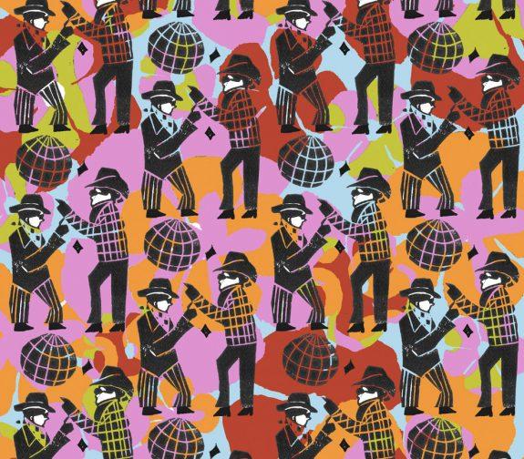 The indoor picnic - Tiny man dancing print