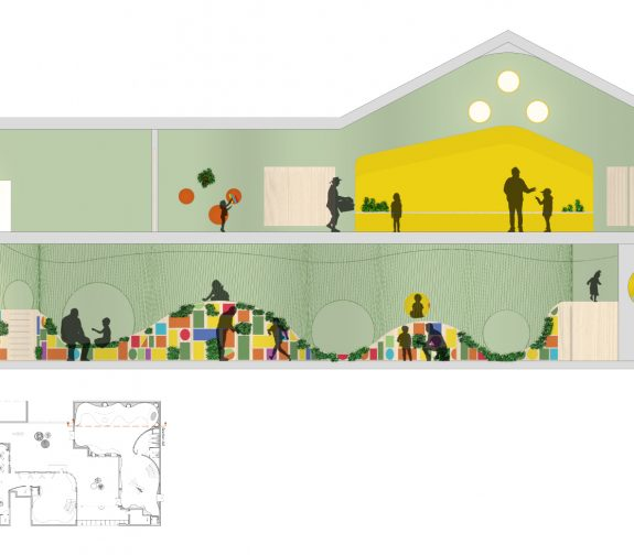 Section AA showing The Very Hungry Caterpillar and upstairs kitchen area