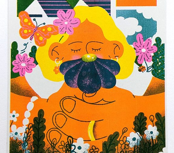 'Amongst The Flowers' Riso Print