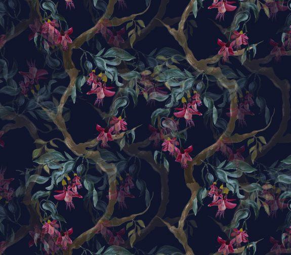 Garden cottage - Fuchsia dark wallpaper