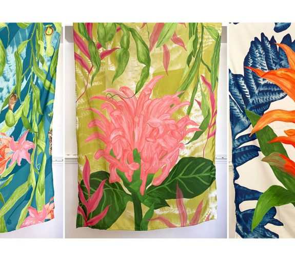 How she spends her colours - AO wallhangings printed on crepe de chine fabric