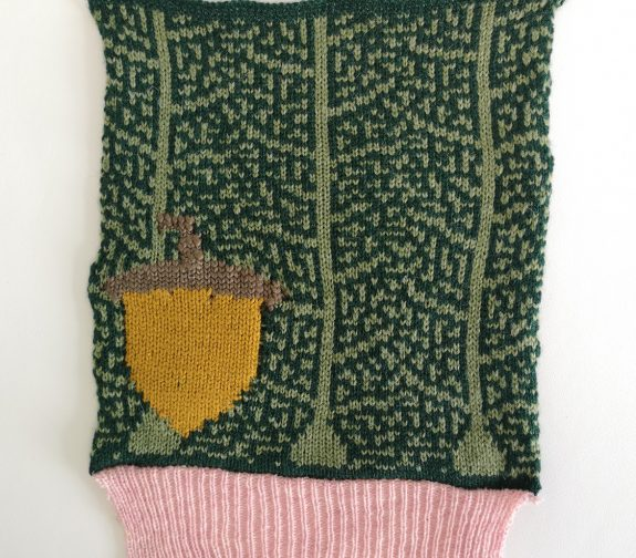 What will we see in the woods today? - Acorn knit sample