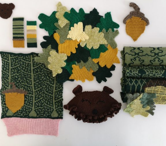 What will we see in the woods today? - Bear knit samples