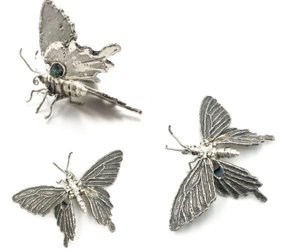FREEDOM - Butterfly silver brooch