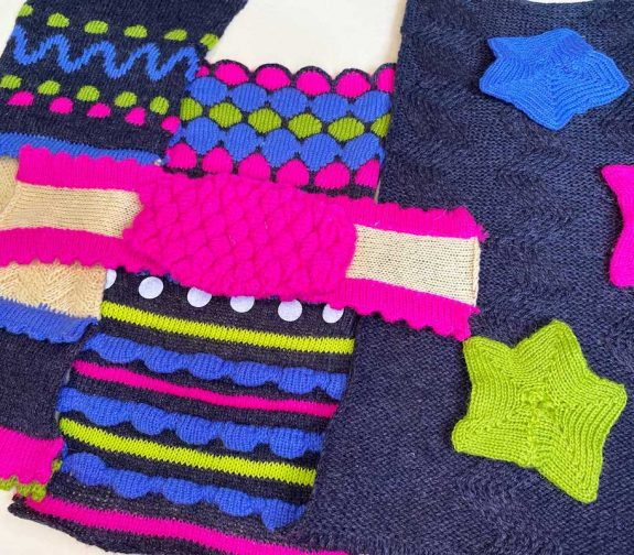 Let yourself glow : knitted samples combining detachable stars, protective knee pads and vibrant patterns to create bold, interactive childrenswear.
