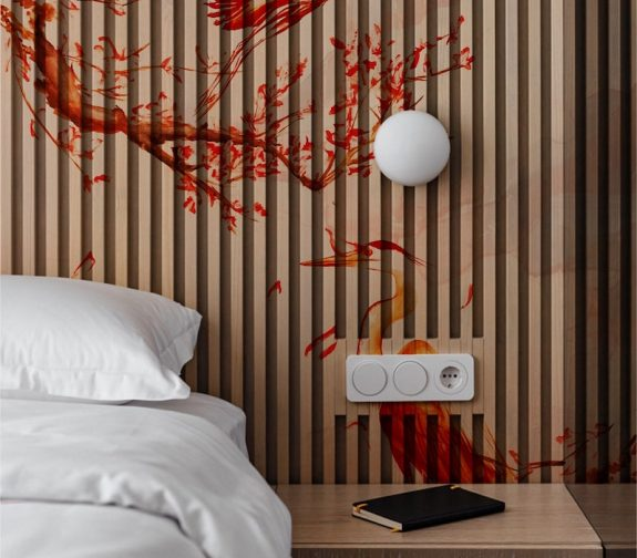 The End of the Silk Road's most innovative piece that has been created using wooden surfaces and dowels. The strategic placement for this innovative design embraces a ribbing effect