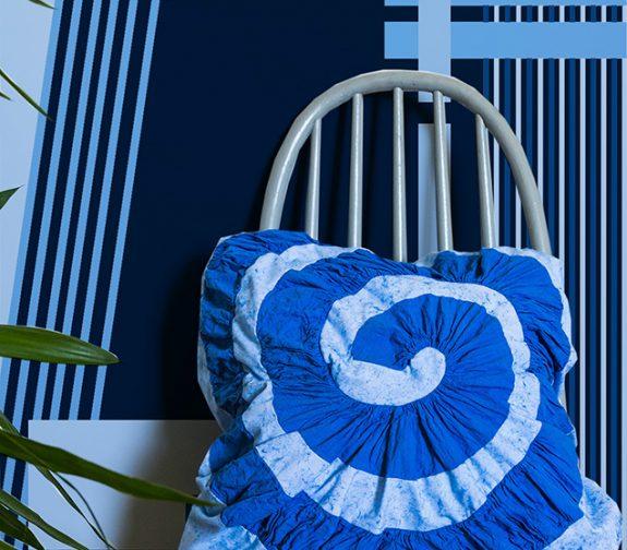 Pleated Swirl, alongside blue digital print