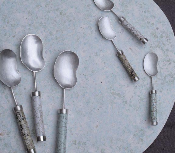 Féasta collection, Eggshell inlay Teaspoon and Salt Spoon set