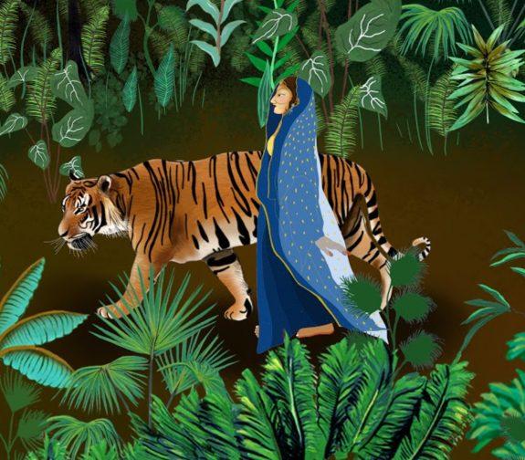 Indian nights, a faraway land - The lost princess print detail