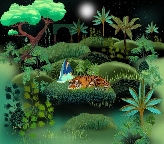 Indian nights, a faraway land - The sleeping tiger print