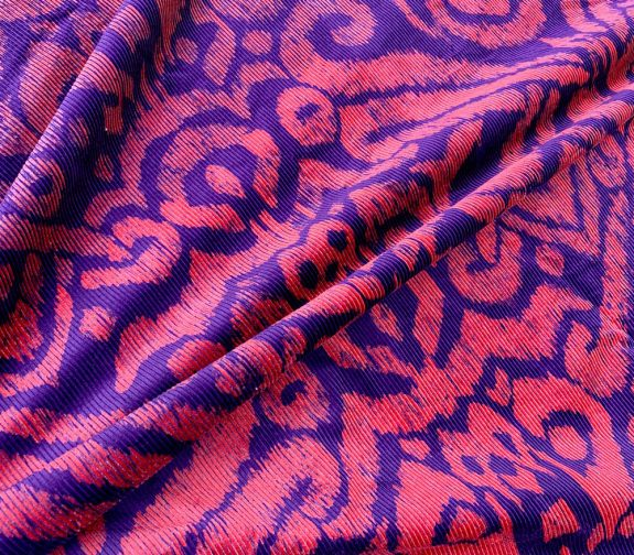 Damson Damaskus: Screenprinted Corduroy Ikat Design