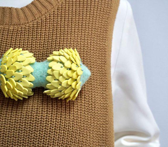 Yellow Dahlia Brooch