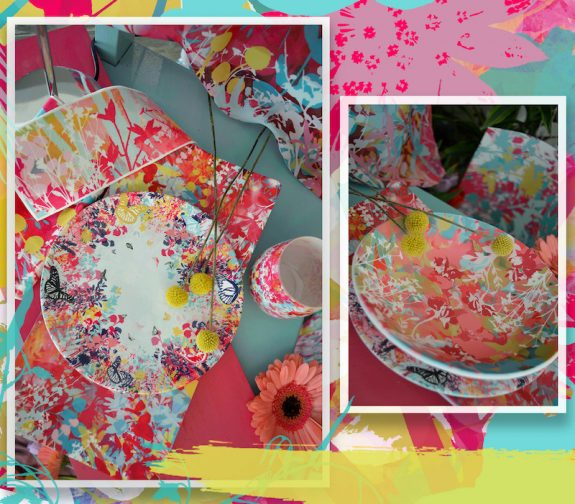 Efflorescence : Floral tableware designs digitally printed onto bone china and stonemax resin