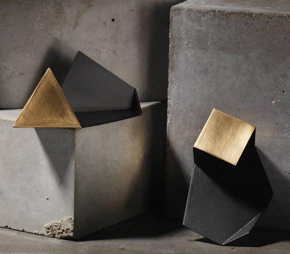 Triangular pyramid shadow brooch