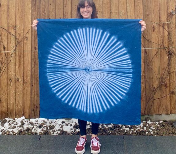 Large hand stitched and dyed shibori indigo dyed textile