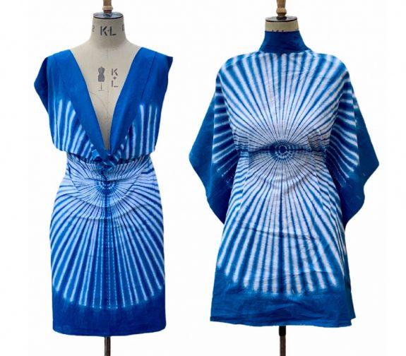 Shibori indigo dye fashion garments