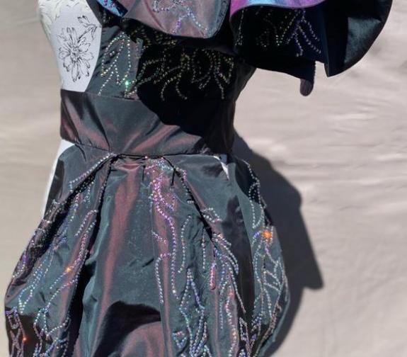 Silk Taffeta Half Garment with Hot Fix Crystals