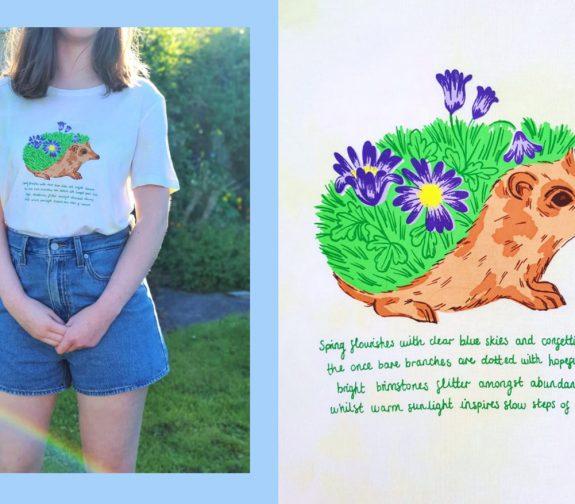 Awaken healing spirits of spring - Hedgehog t shirt print