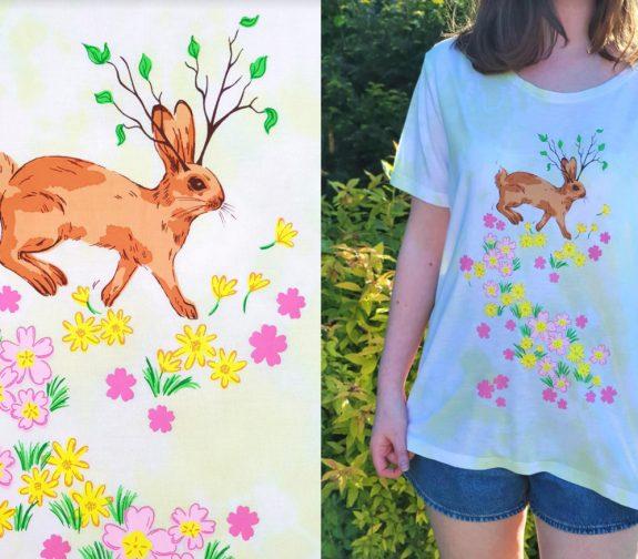 Awaken healing spirits of spring - Rabbit and flowers t shirt print