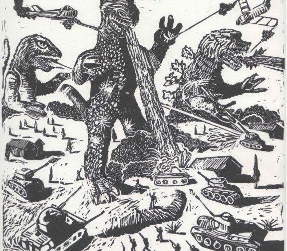 Godzilla tank battle