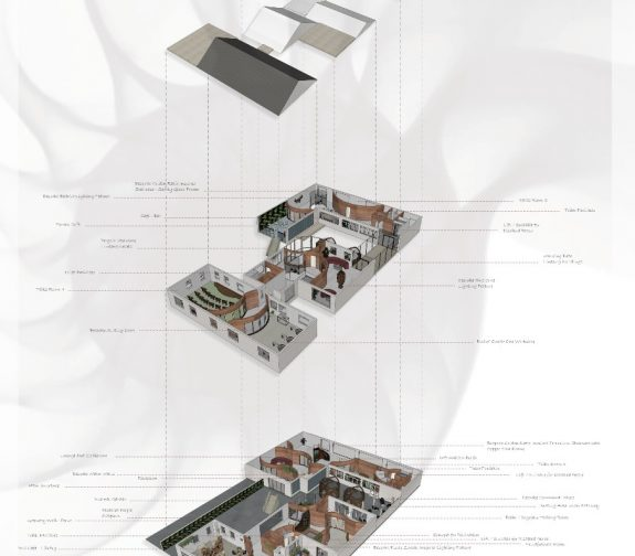 Exploded Axonometric Drawing of the Centre