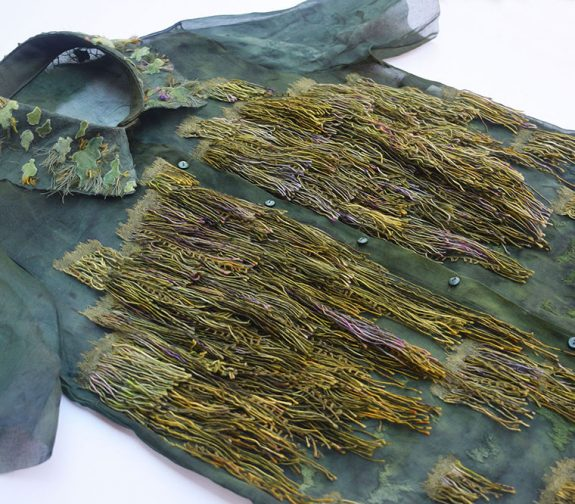 Hand Dyed Shirt With Embroidery and Applique Details