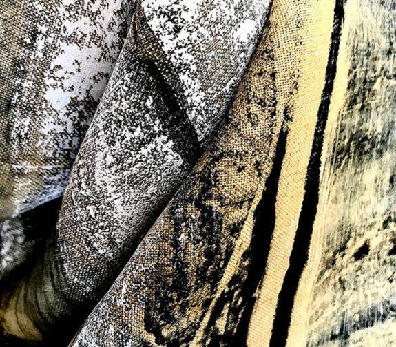 Rust-Dyed Silkscreen Printed Natural Linen
