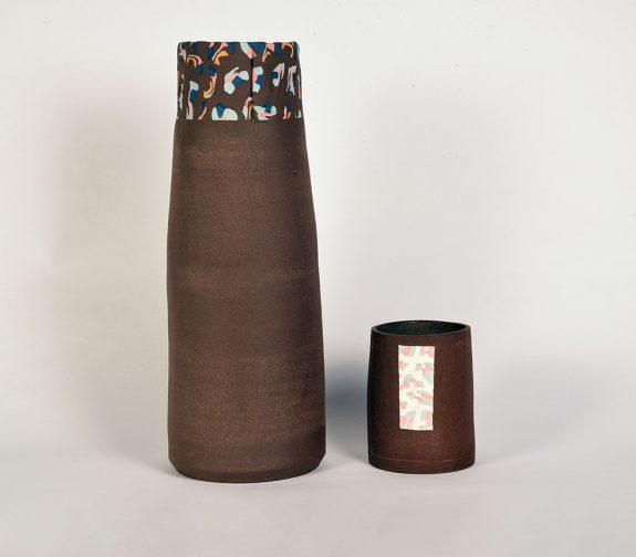 Two Terracotta Nerikomi Vessels