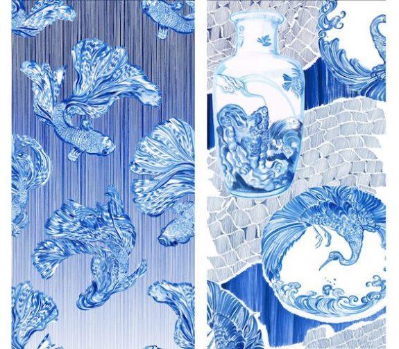 Japanese porcelain inspired prints & pleats